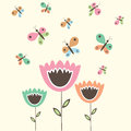 Cute flowers and butterflies Stock Photo