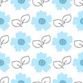 Cute flowers and leaves. Drawn by hand. Floral seamless pattern.