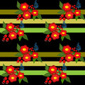 Cute flowers seamless pattern on black striped background Royalty Free Stock Photo