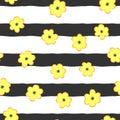 Cute flowers on striped background. Stylish seamless pattern. Royalty Free Stock Photo