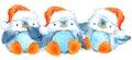 Cute fluffy bird penguin. Watercolor funny penguin.