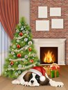Interior with christmas tree fireplace dog