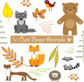 Cute forest animals background