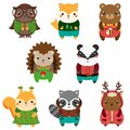 Cute forest animals. Cartoon kawaii wildlife animals set
