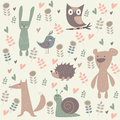 Cute forest animals north illustration of rabbit bear hedgehog bird snail fox and owl in cartoon style flowers and hearts Royalty Free Stock Image