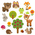 Cute forest animals set of funny animal in simple graphics Stock Images