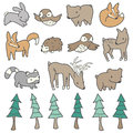 Cute forest animals and trees illustrated in a hand drawn style Stock Image