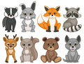 Cute forest animals on a white background. Set of cartoon woodland animals.