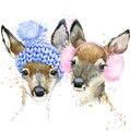 Cute forest deer T-shirt graphics, watercolor deer illustration