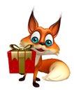 Cute Fox cartoon character with gift box Royalty Free Stock Photo