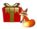 Cute Fox cartoon character with gift box Royalty Free Stock Photo