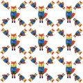 Cute Fox in cartoon style. Seamless pattern