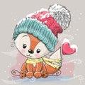 Cute Fox in a knitted cap