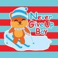 Cute Fox Play Ski On Striped B...