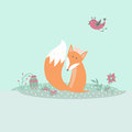 Cute fox sitting on lawn in forest with bird and flowers in cartoon style Royalty Free Stock Photo