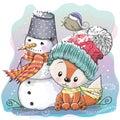 Cute Fox and snowman