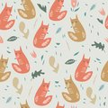 Cute foxes seamless pattern. Orange foxes on floral background. Good for print, wrapping paper, textile, fabrics, wallpaper, decor
