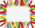 Cute frame with colored pencils for school vector Royalty Free Stock Photography