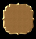 Cute frame wavy gold or tag on black isolate Stock Image