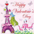 Cute french valentines day background Stock Image