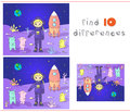 Cute and friendly martians greeting astronaut on their planet c cosmonaut landed the moon s surface educational game for kids Stock Image