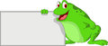 Cute frog cartoon with blank sign vector illustration of Royalty Free Stock Photography