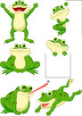 Cute frog cartoon collection set illustration of Stock Photography