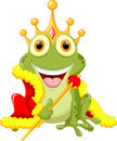 Cute frog Prince cartoon Royalty Free Stock Photo