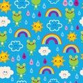Cute frogs rain drops rainbows clouds seamless pattern