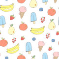 Cute fruits and sweets seamless vector background