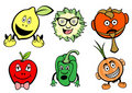 Cute fruits and vegetable icons set Royalty Free Stock Images