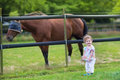 Cute funny baby playing with a horse on a farm in summer Stock Photography