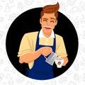Cute and funny barista