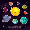Cute and funny cartoon planets stickers of solar planetary system. Kids astronomy education vector set Royalty Free Stock Photo