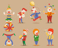 Cute Funny Clowns Different Positions and Actions Character Icons Set Retro Cartoon Design Vector Illustration