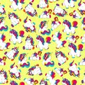 Cute, funny and colorful hand drawn rainbow unicorn seamless pattern vector