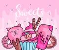 Cute funny Girl teenager colored icon set sweets, fashion cute teen and princess icons. Magic fun cute girls cupcake