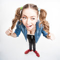 Cute funny girl with two pony tails wide angle shot view from above Stock Image