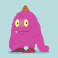 Cute funny Hairy Pink Monster Royalty Free Stock Photo
