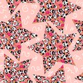 Cute and funny hand drawn pandas design with stars seamless pattern vector