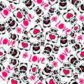 Cute and funny hand drawn pandas with hearts love typography design seamless pattern vector