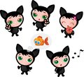 Cute funny kitten set vector illustration Royalty Free Stock Photography