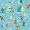 Cute funny raccoons on skiing. Winter seamless pattern.