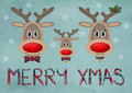 Cute funny reindeer family on blue vintage background with text merry christmas