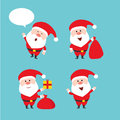 stock image of  Cute funny Santa Claus. Vector set. Merry Christmas. Flat style design.