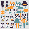 Cute funny stylish kittens set of Stock Image