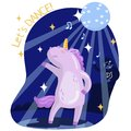 Cute funny unicorn dancing, music party. Lets dance vector Royalty Free Stock Photo