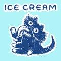 Cute fur cat eats ice cream. Vector illustration.