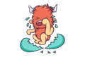 Cute Fur Monster crying.