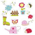 Cute garden doodle elements white Stock Images
